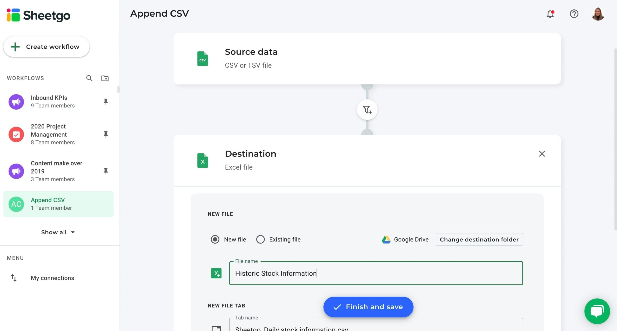 Append CSV data destination