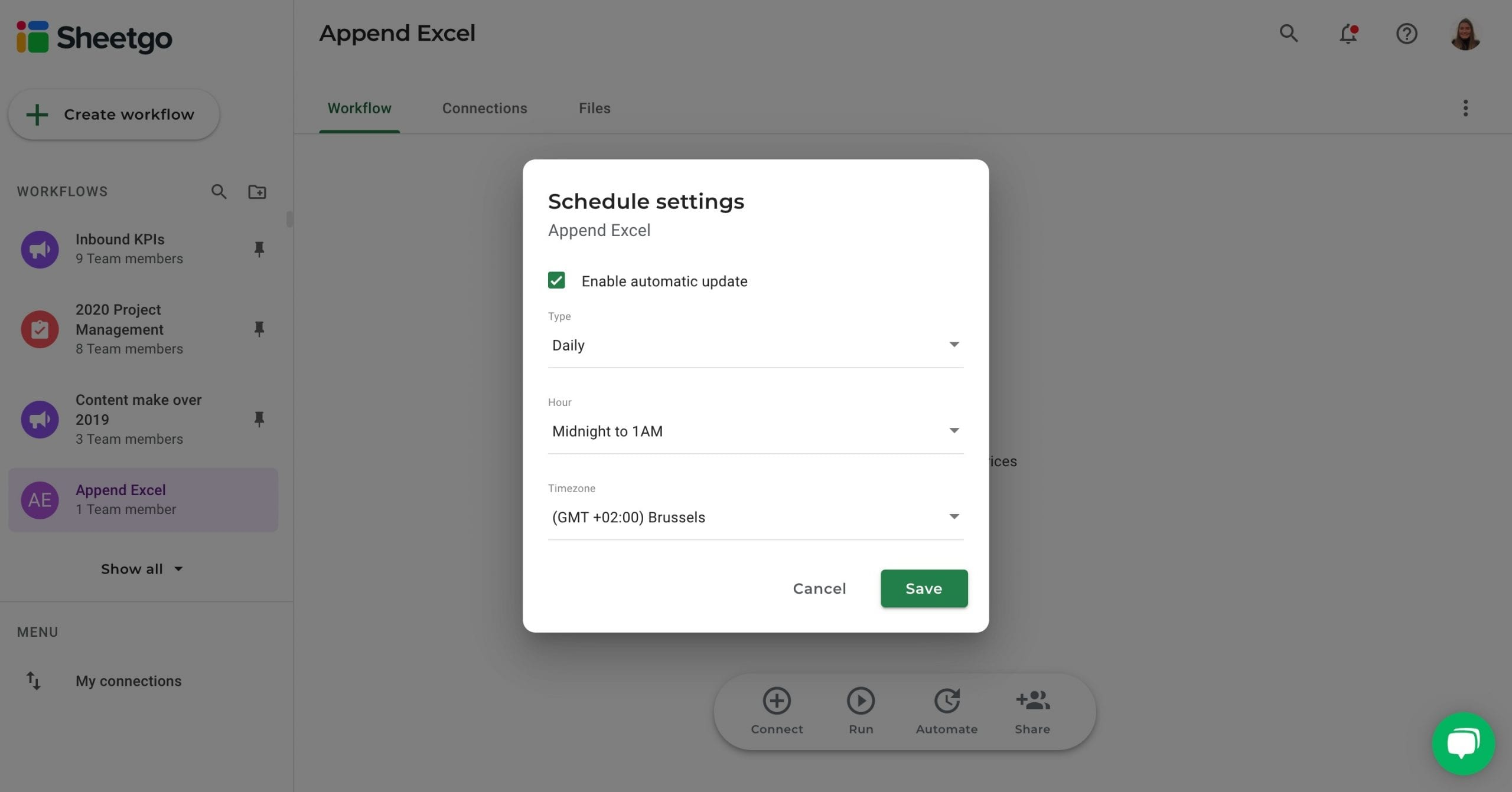 Append Excel automatic updates Sheetgo
