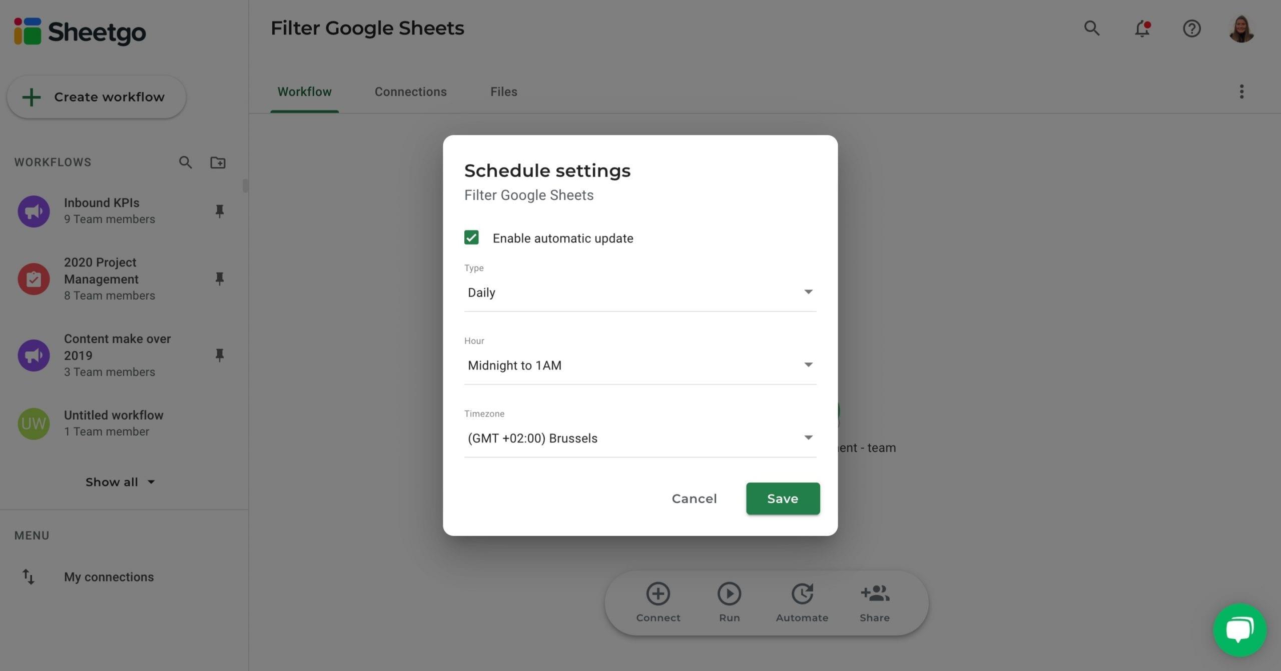 Filter Google Sheets Sheetgo automatic updates