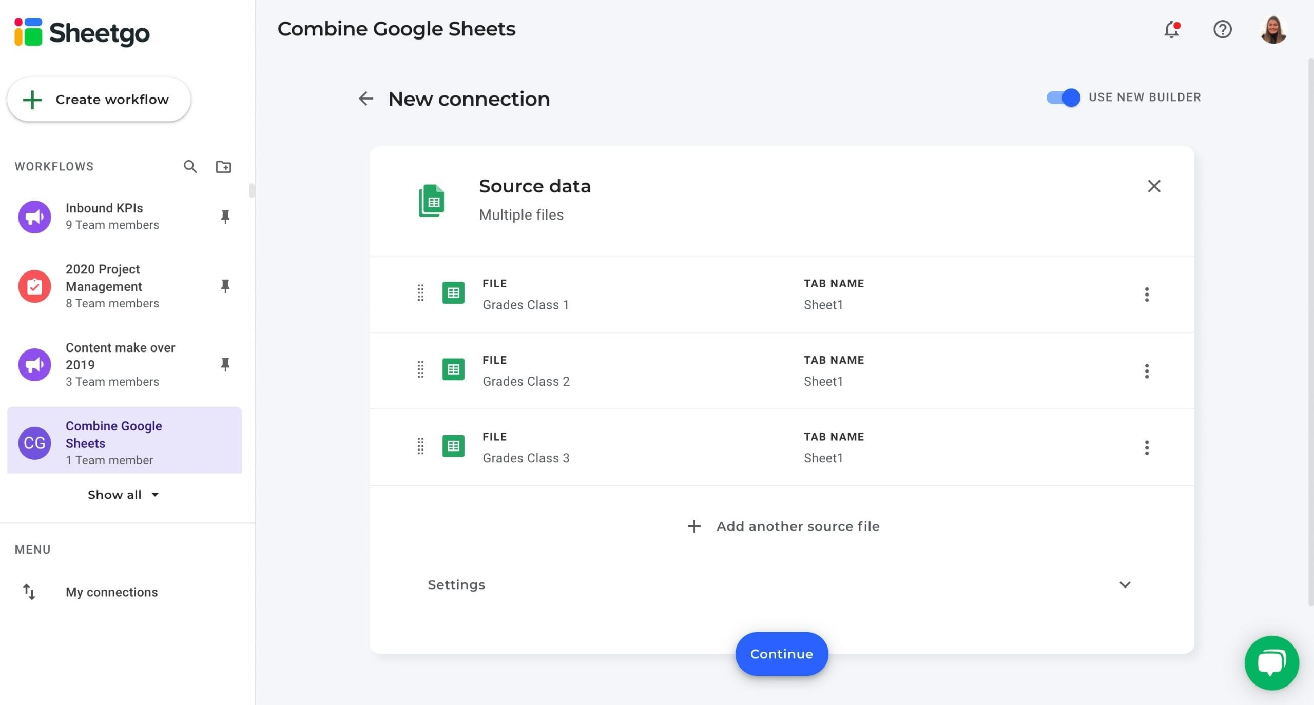 Combine Google Sheets multiple files as data source