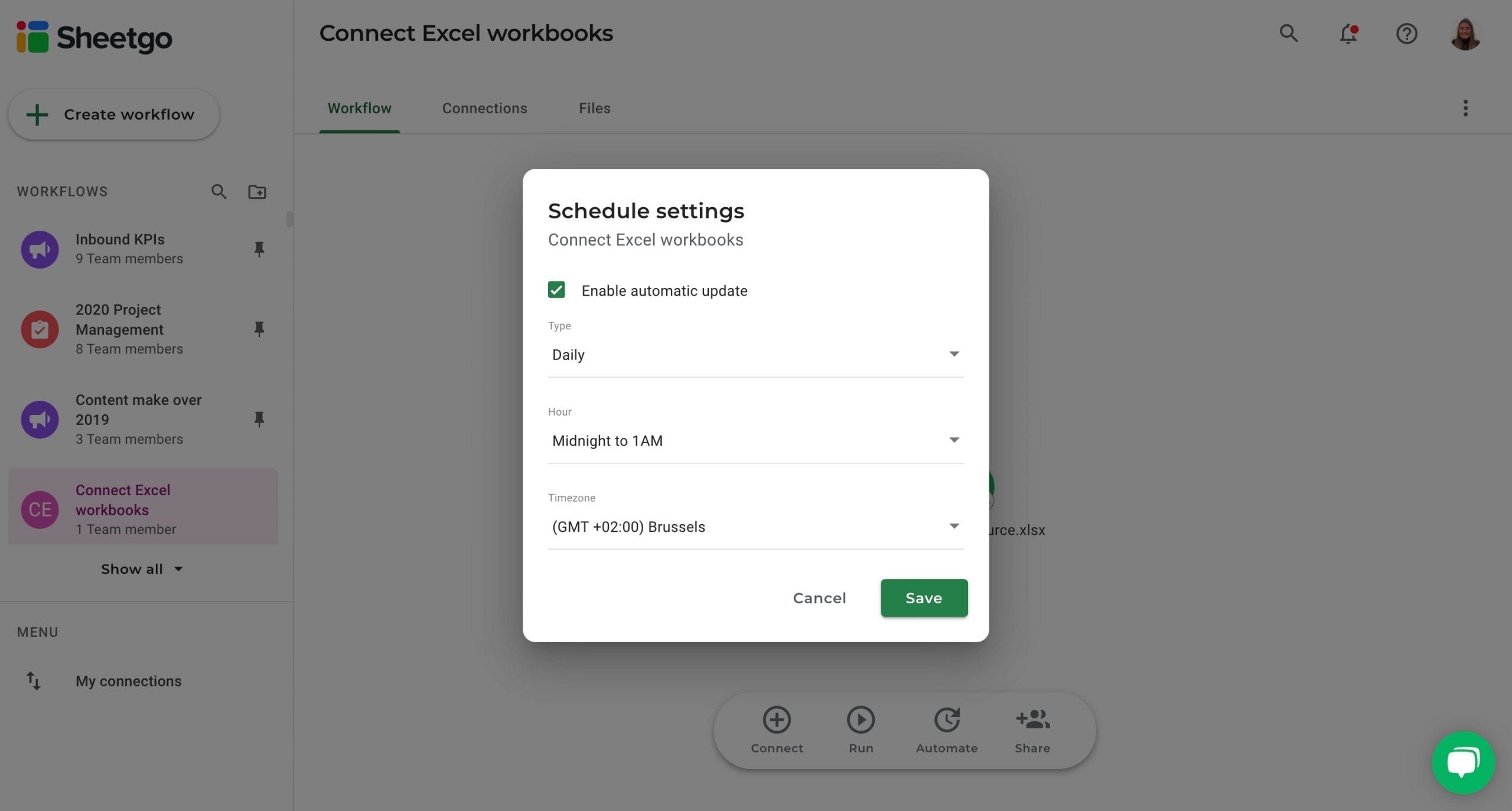 Connect Excel automatic updates