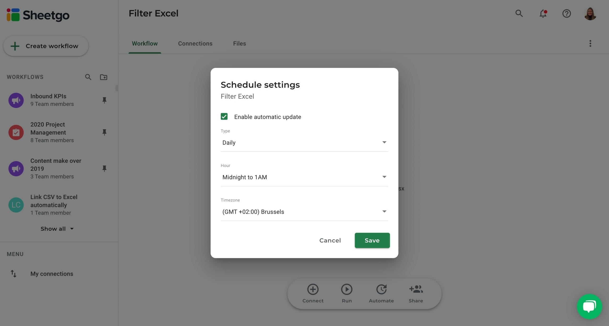 Filter Excel automatic updates