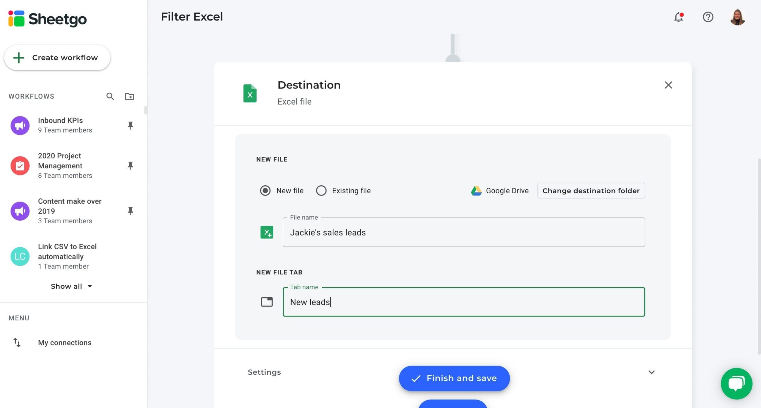 Filter Excel data destination