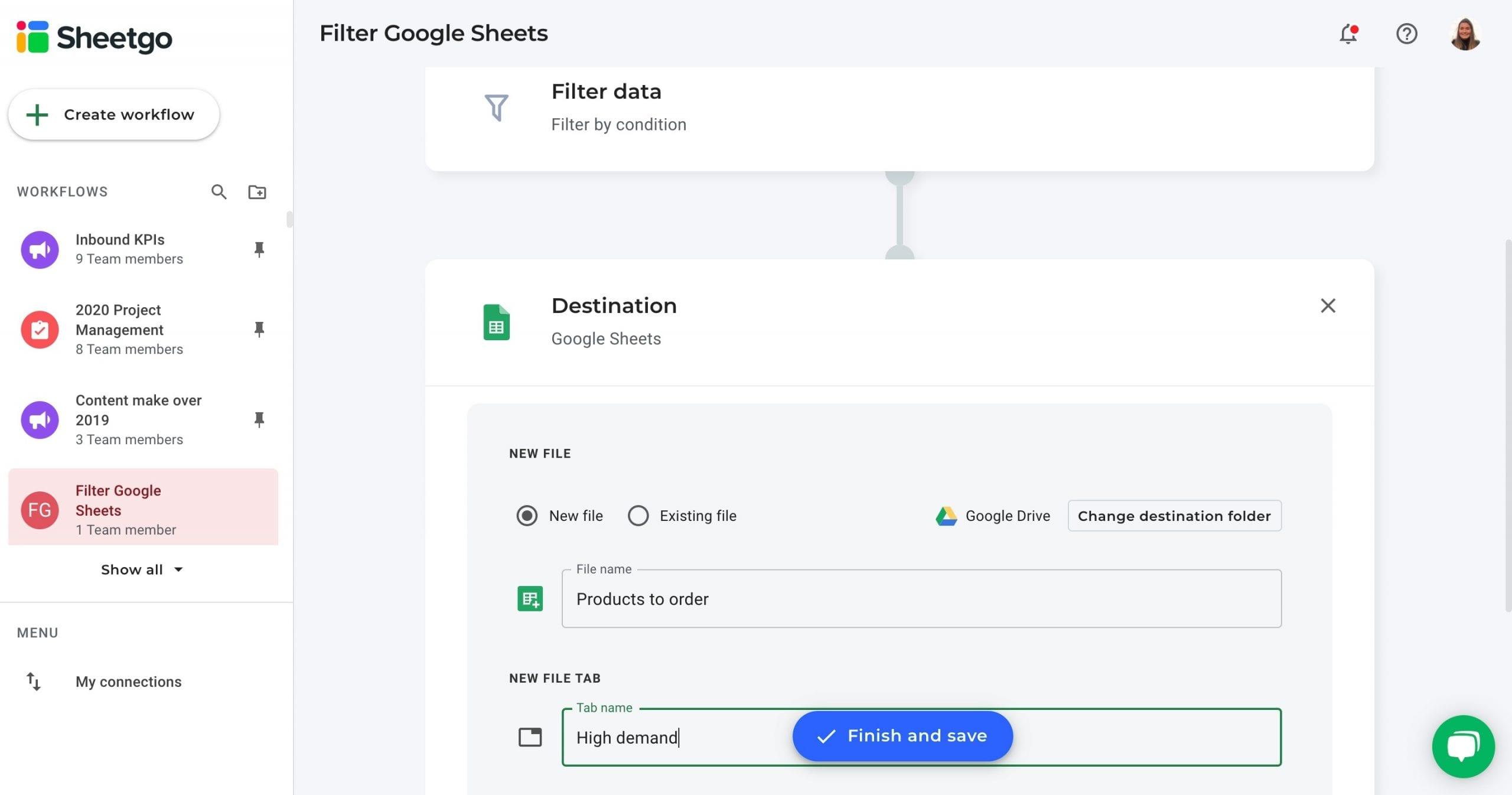 Filter Google Sheets data destination Sheetgo