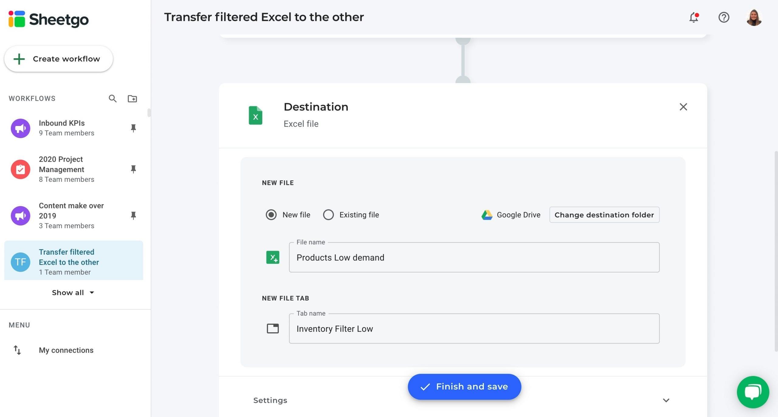 Filtered Excel data destination