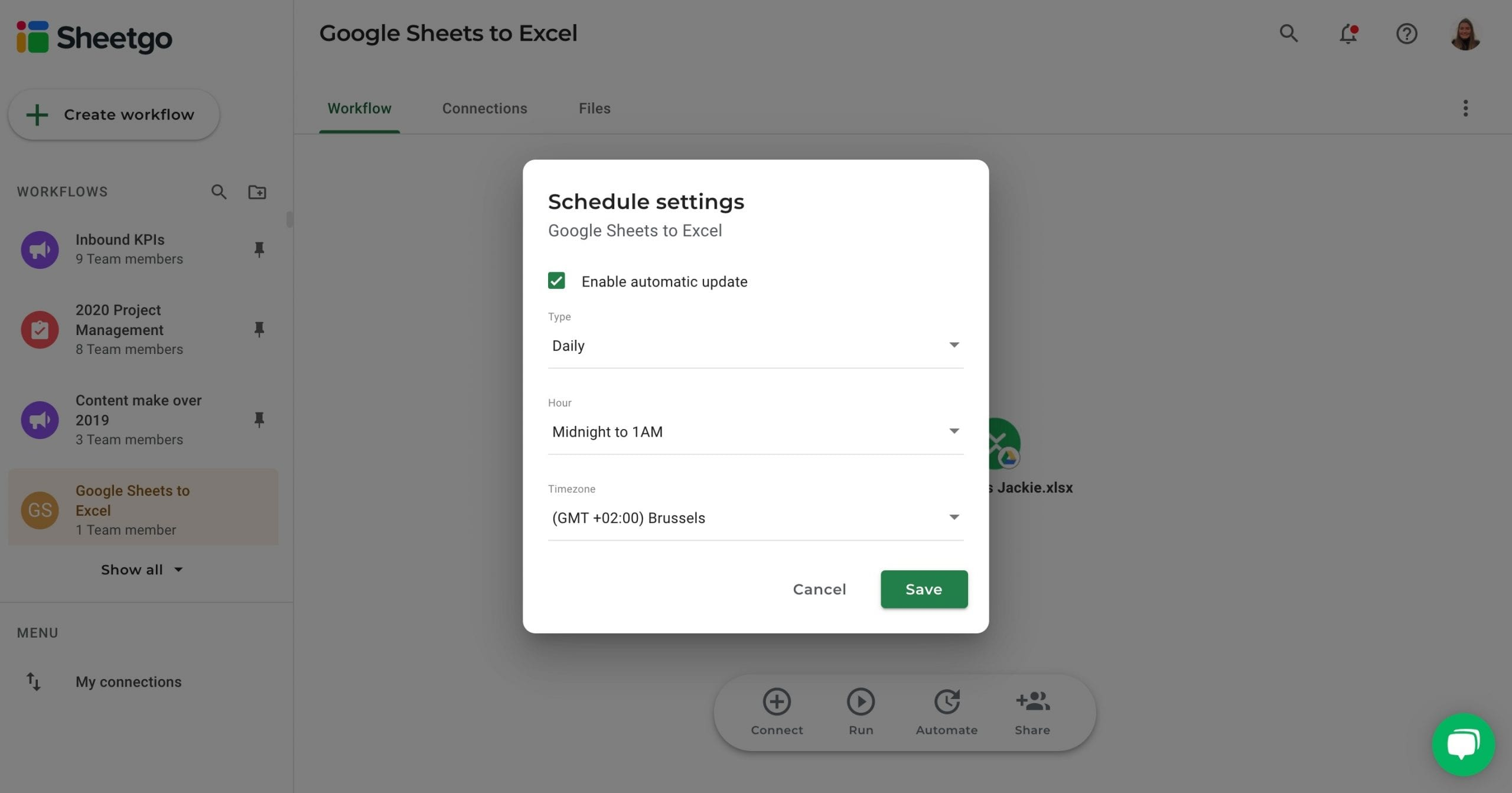 Google Sheets to Excel automatic updates