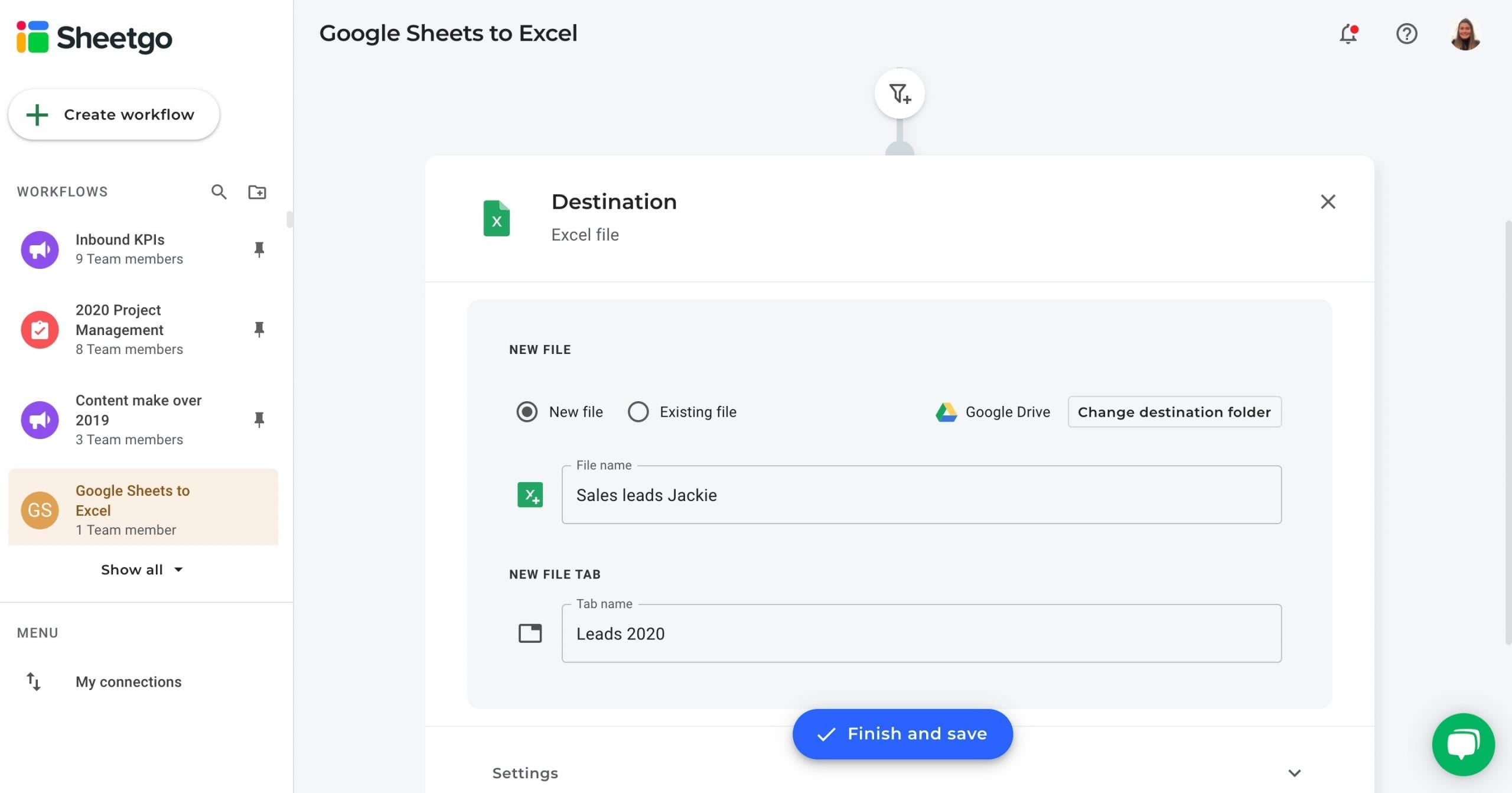 Google Sheets to Excel data destination