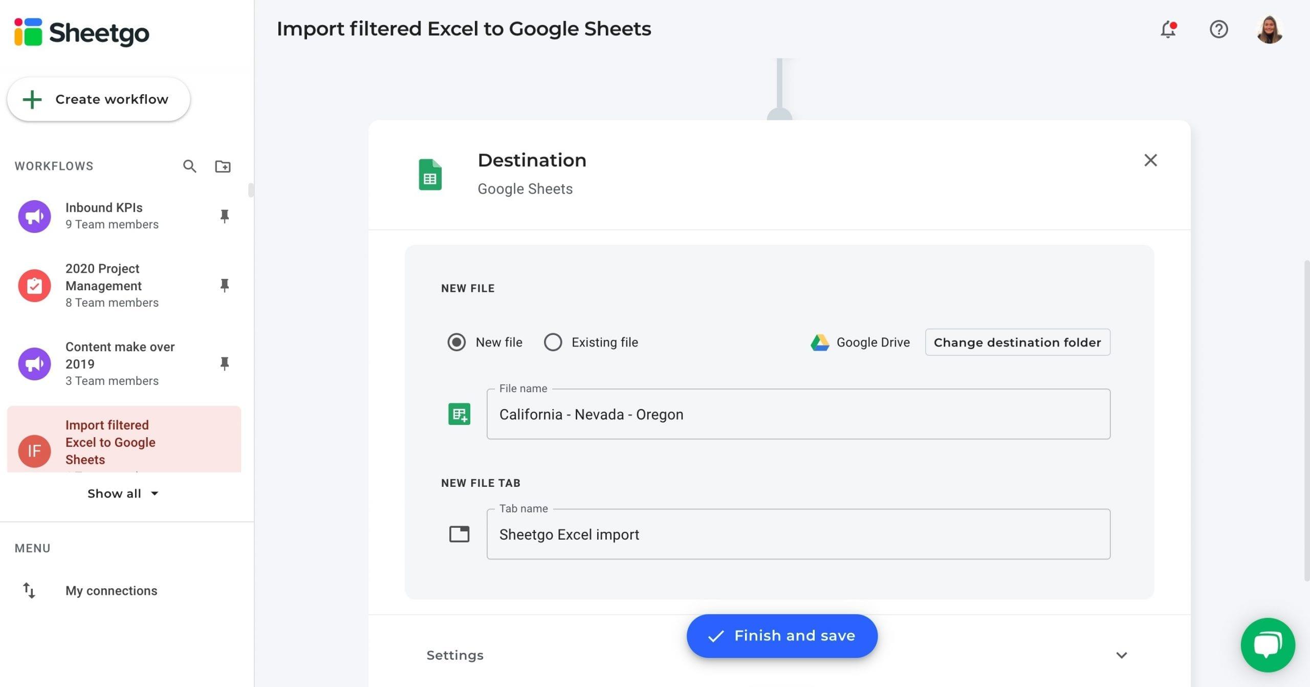 Import filtered Excel to Google Sheets - data destination