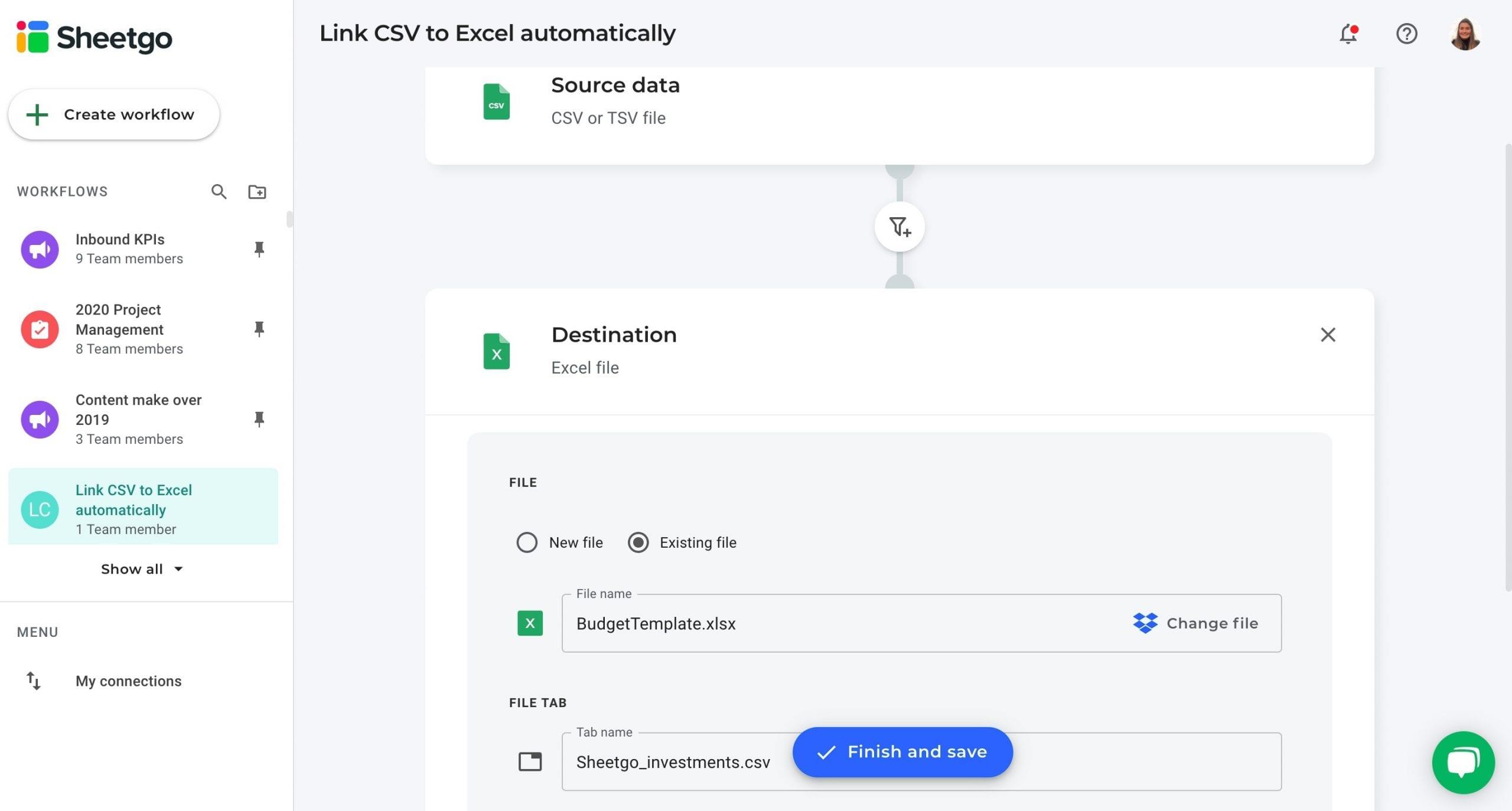 Link CSV to Excel data destination