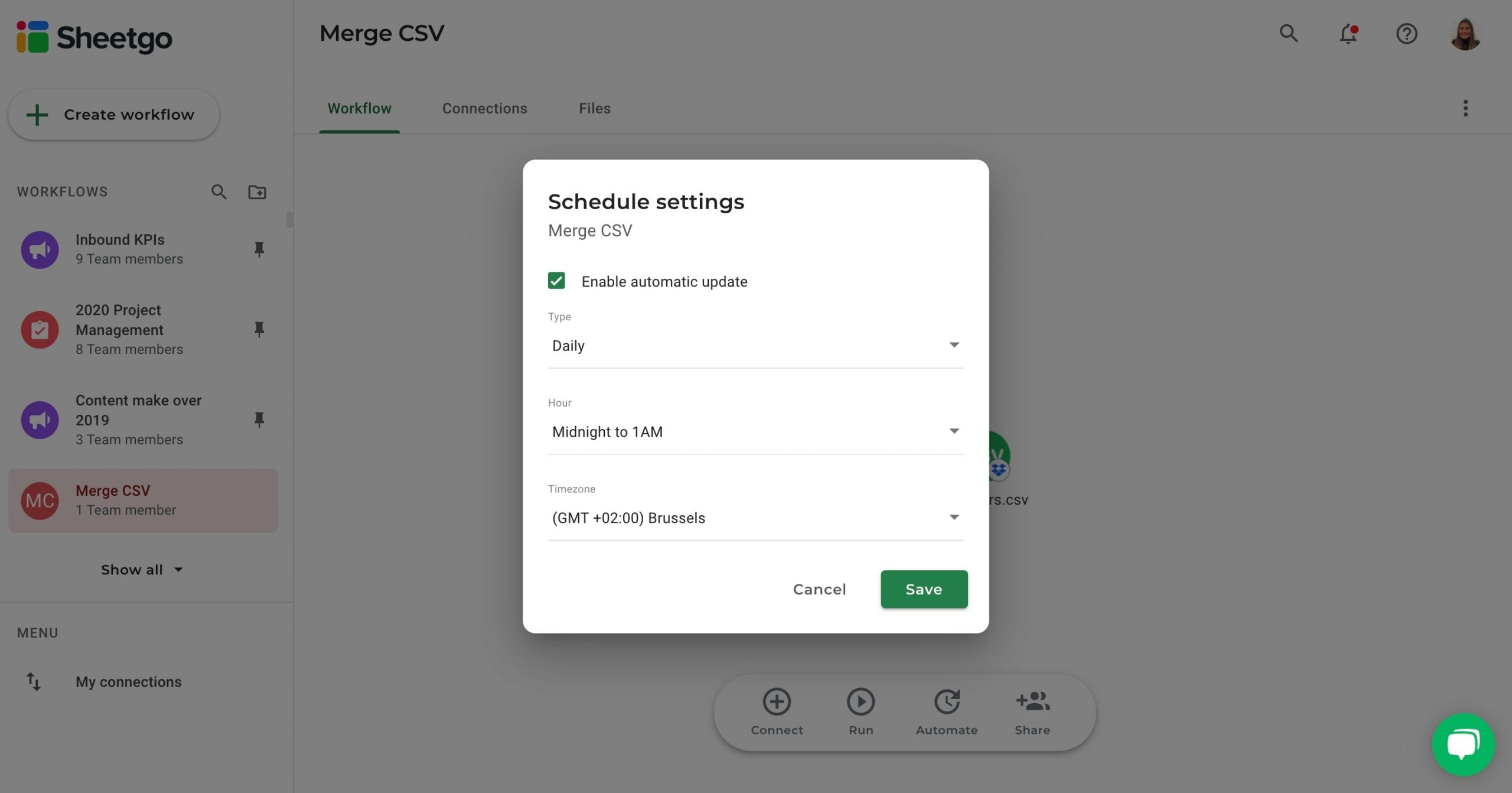 Merge CSV automatic updates