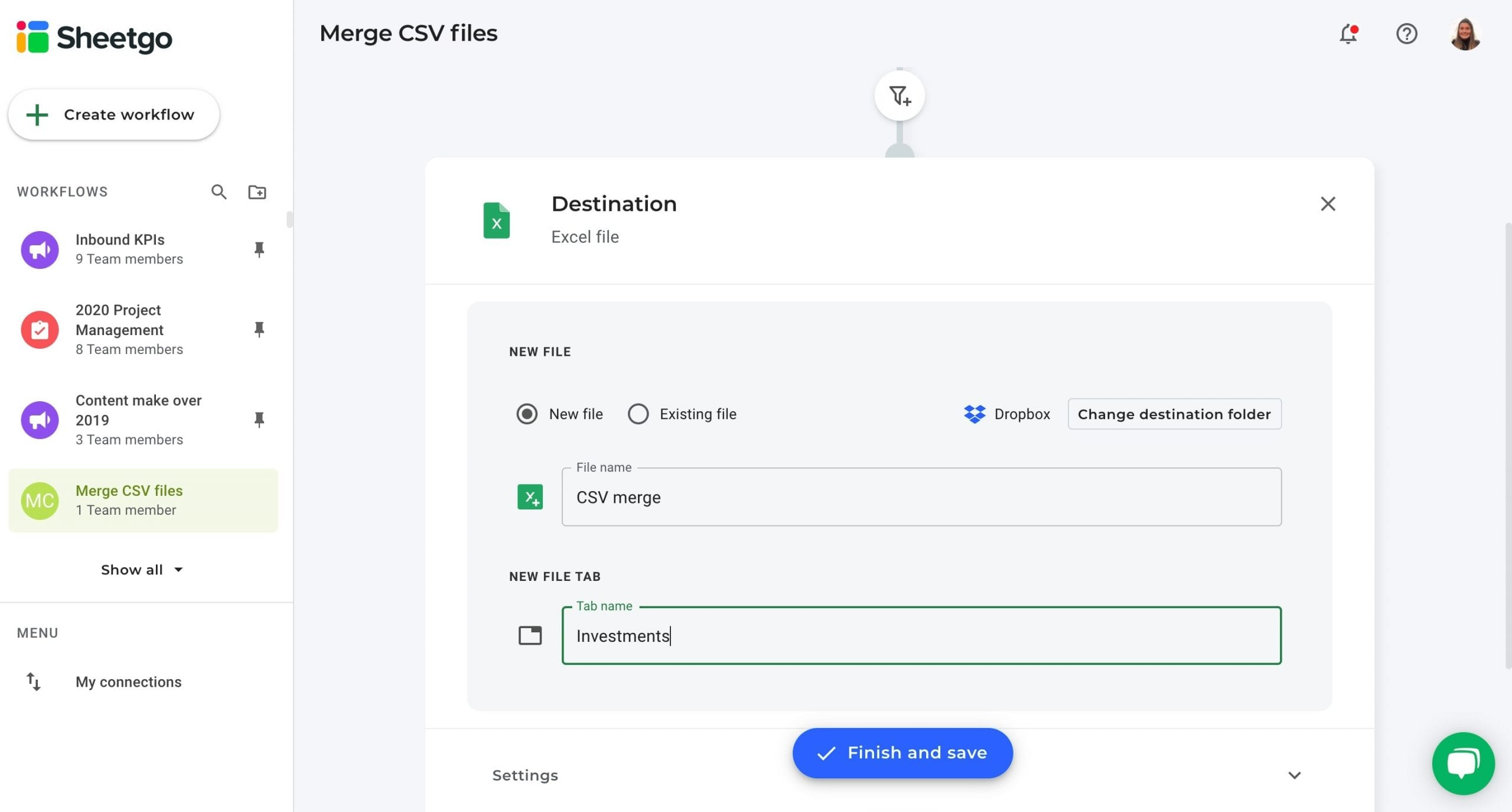 Merge CSV files data destination