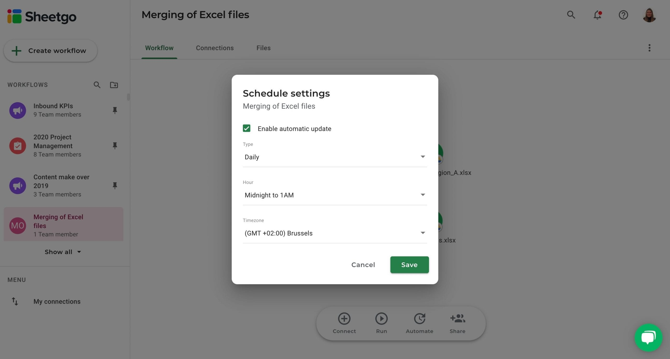 Merging of Excel files automatic updates