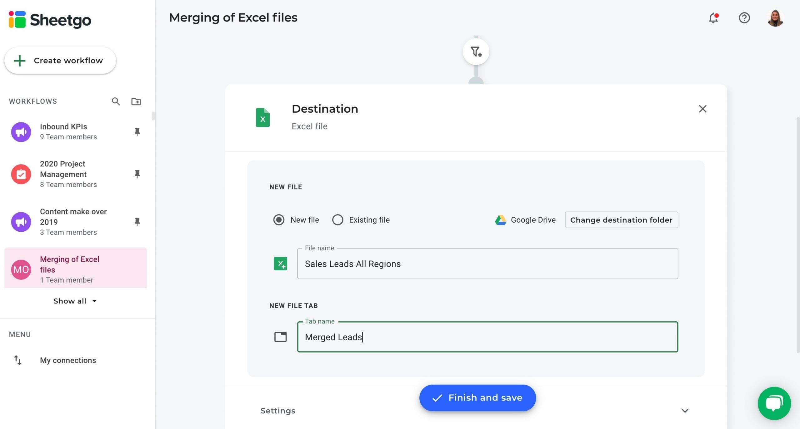 Merging of Excel files data destination
