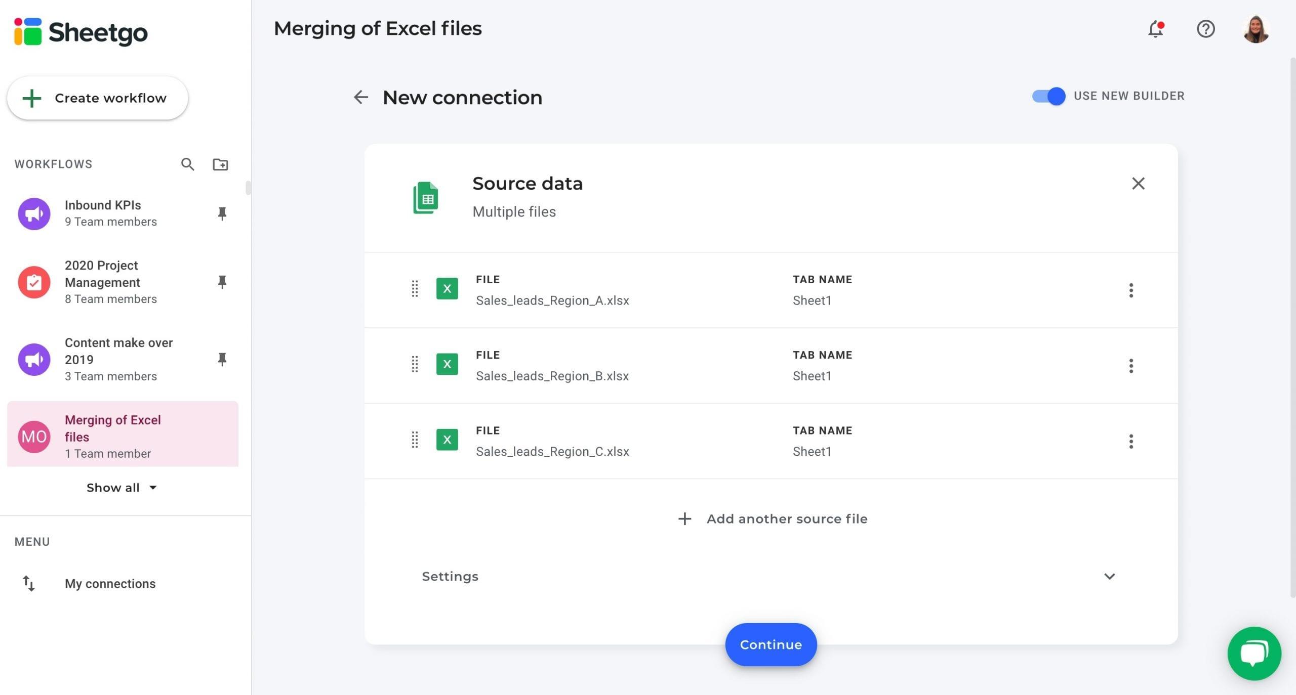 Merging of Excel files Sheetgo