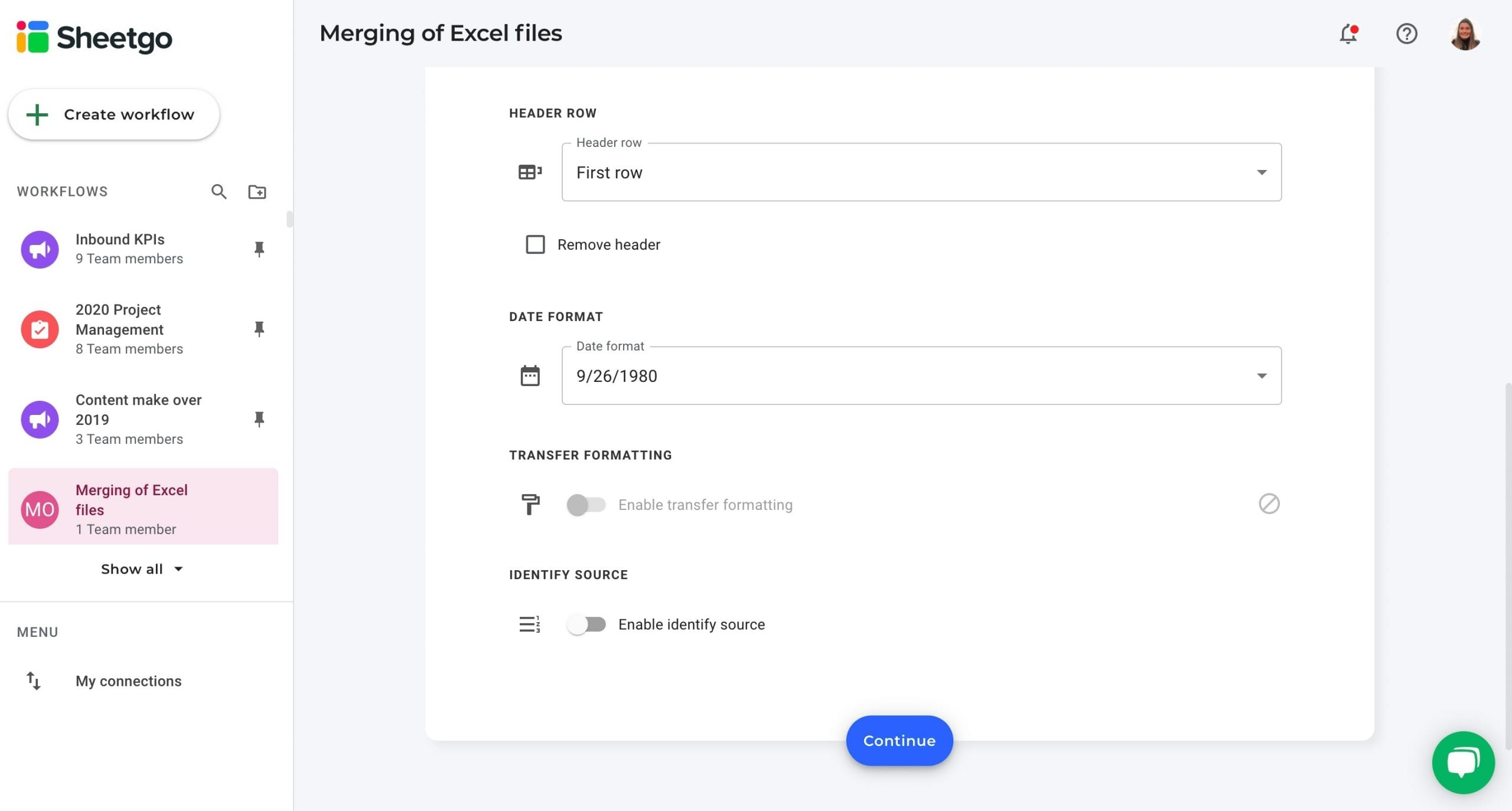 Settings source data Sheetgo