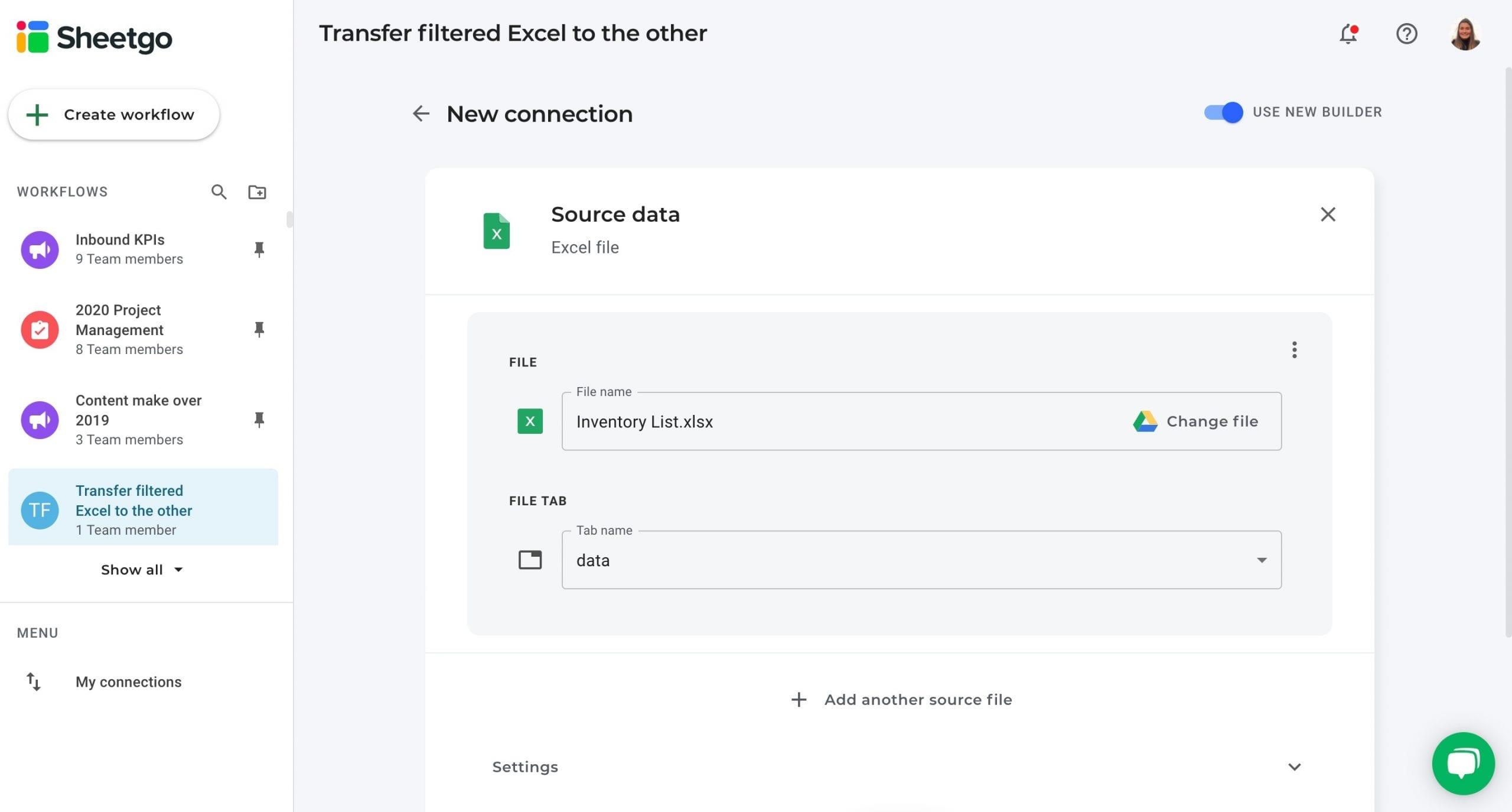 Filtered Excel source data