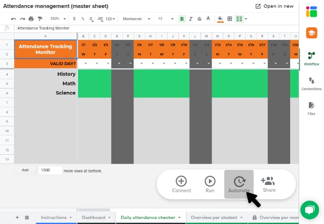 Student attendance tracker template in Google Sheets/ Automating the workflow