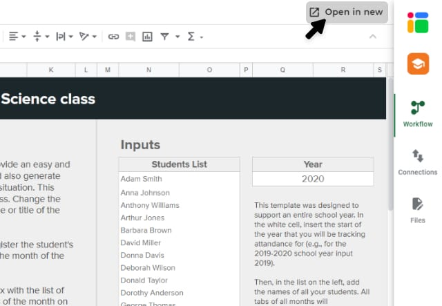 Student attendance tracker template in Google Sheets/ Opening the class file in a new tab
