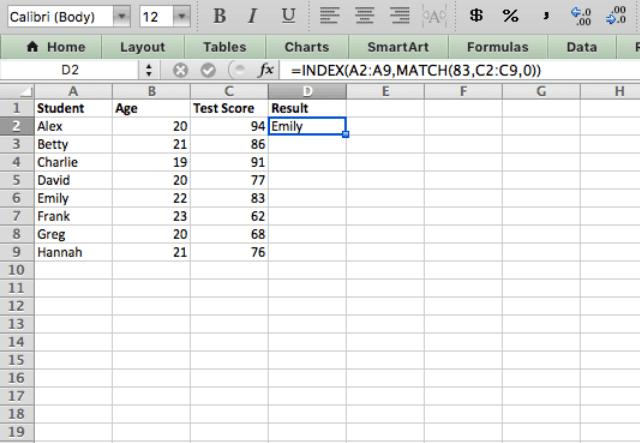 index match excel 3