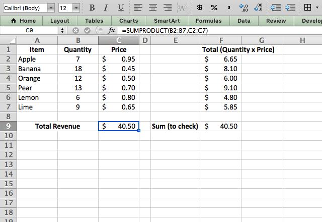 sumproduct excel 1