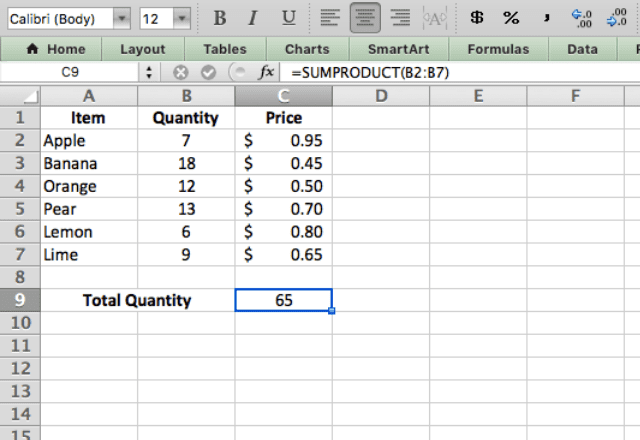 sumproduct excel 2