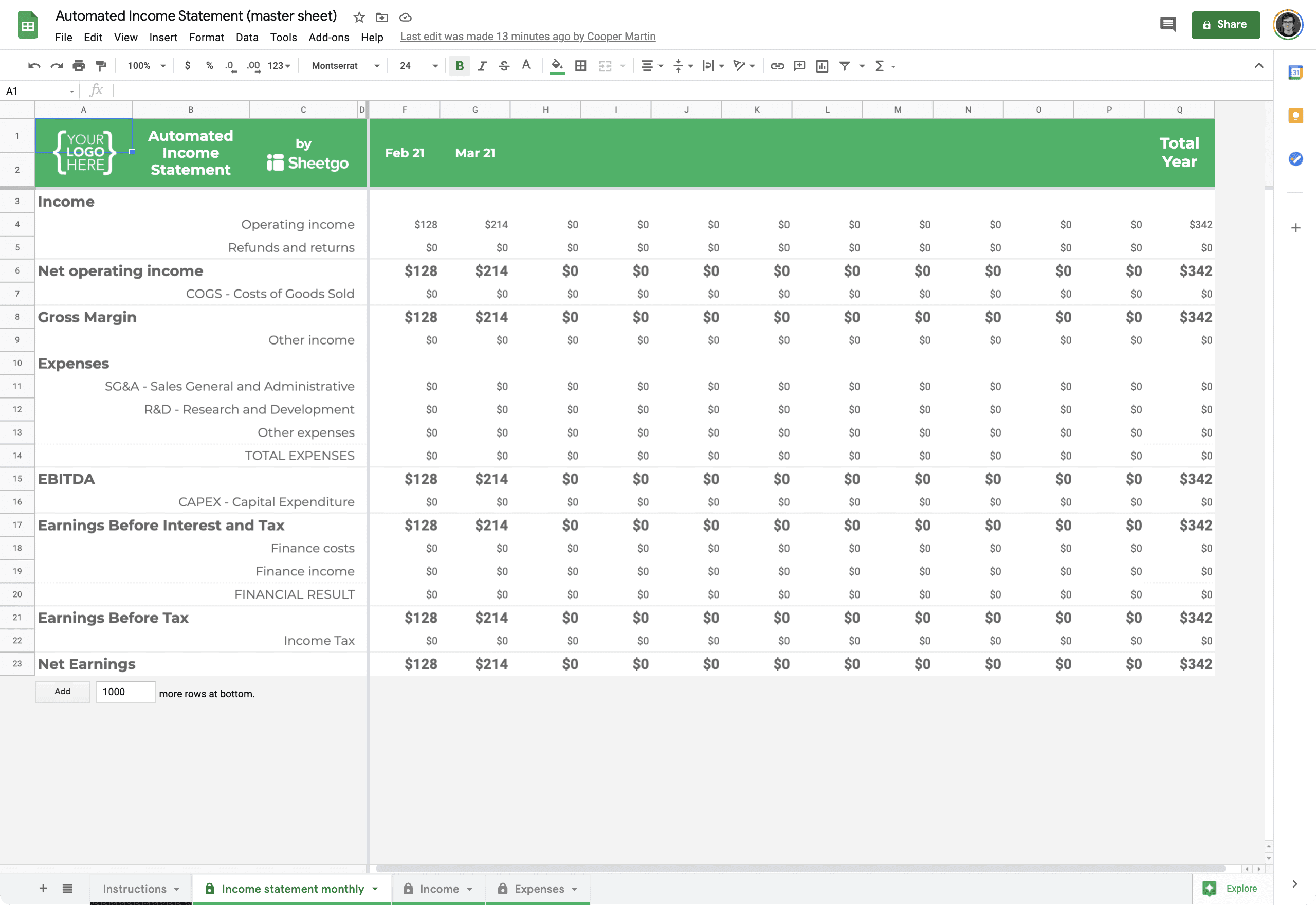 google sheets templates 1 income statement template