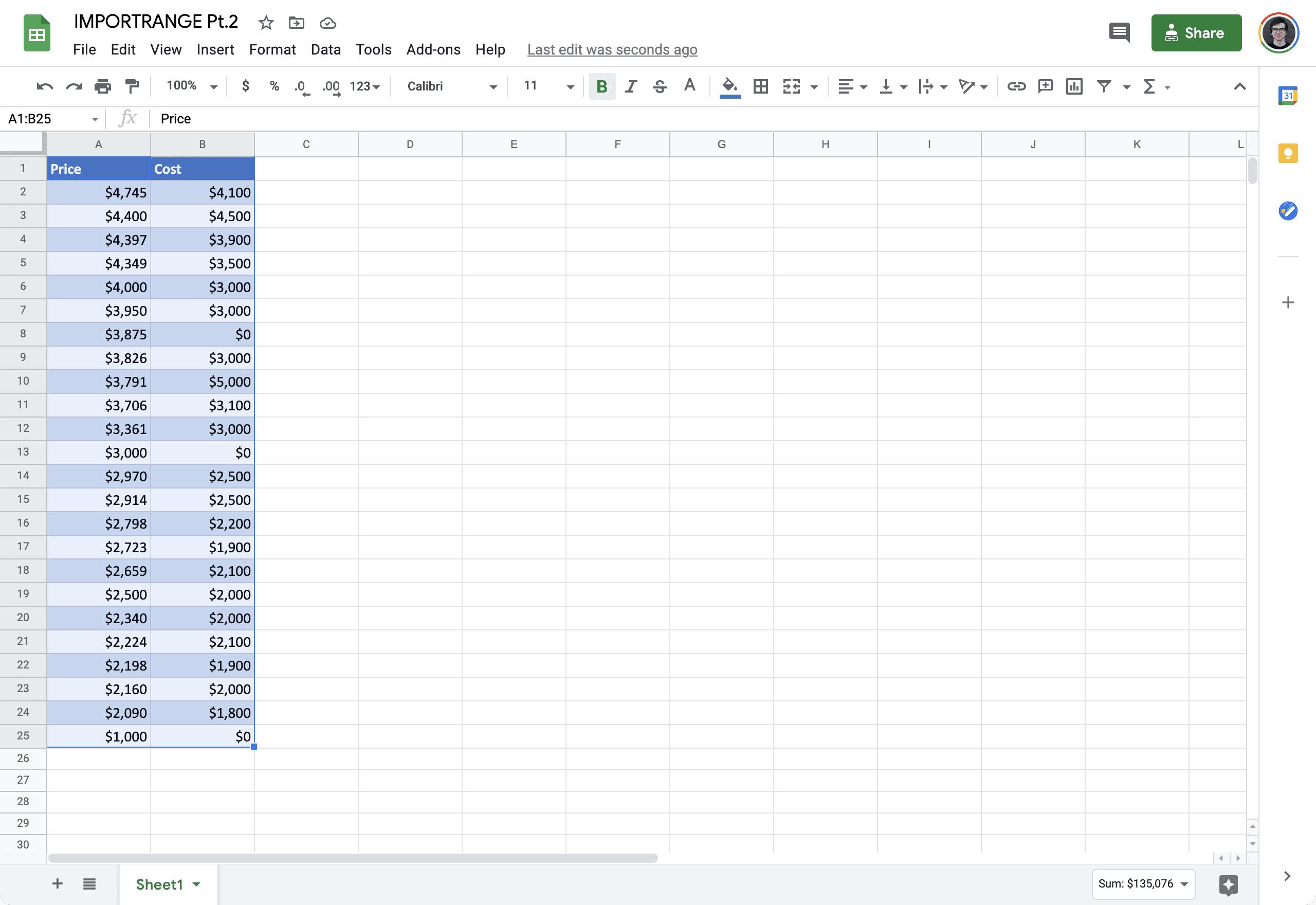 IMPORTRANGE google sheets 1