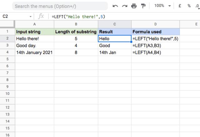 left function google sheets 1