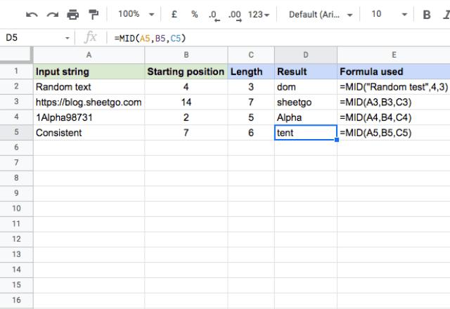 MID Google Sheets example 1