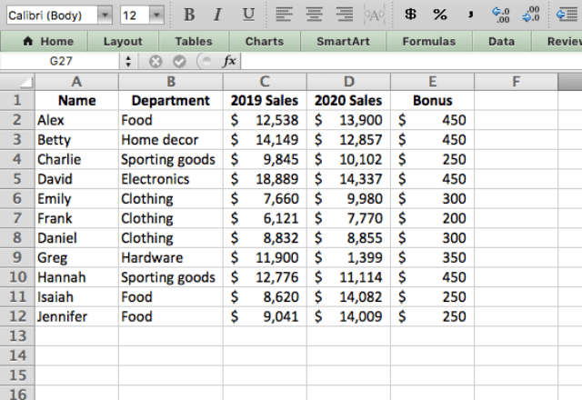 pivot table in excel 1. dataset
