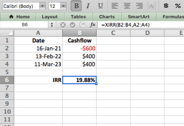 XIRR function Excel example 1