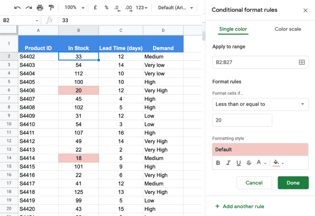 Conditional formatting based on another cell 2
