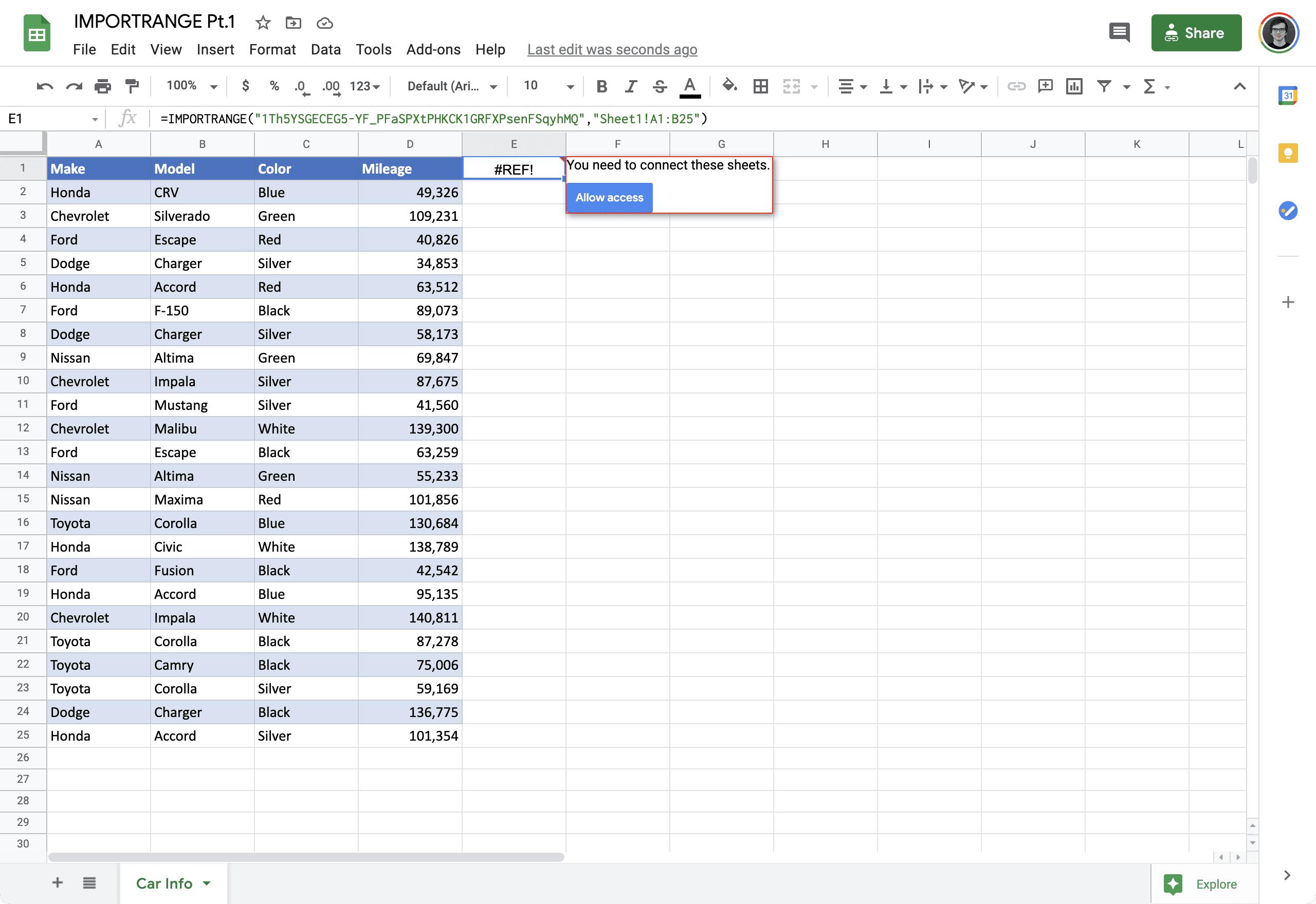 IMPORTRANGE google sheets 2