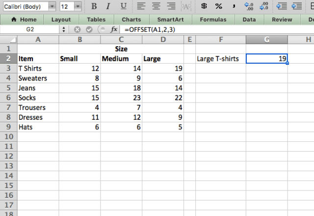 Excel OFFSET function 2
