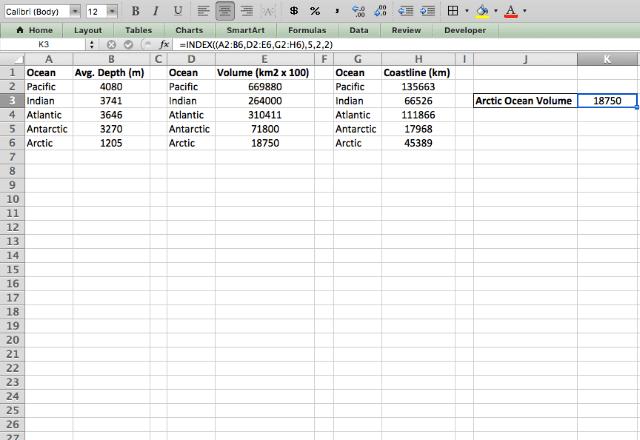 INDEX Excel 3 reference form