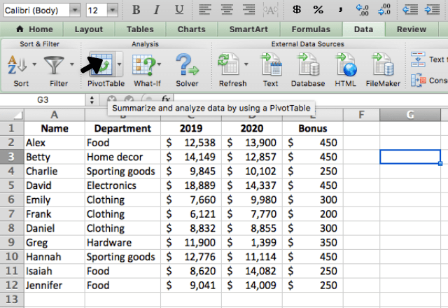 pivot table in excel 3. button