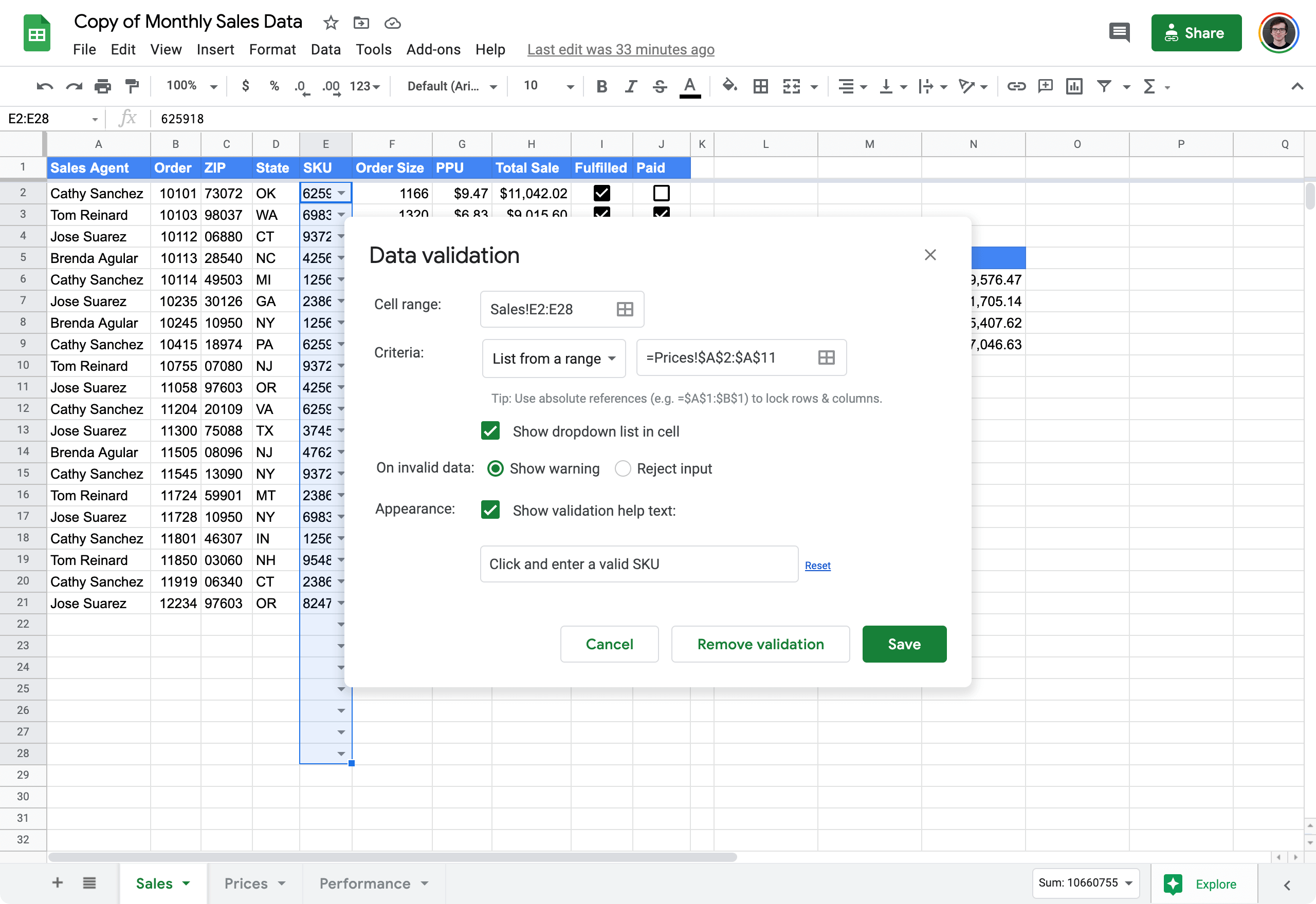 validate input values in Google Sheets 4