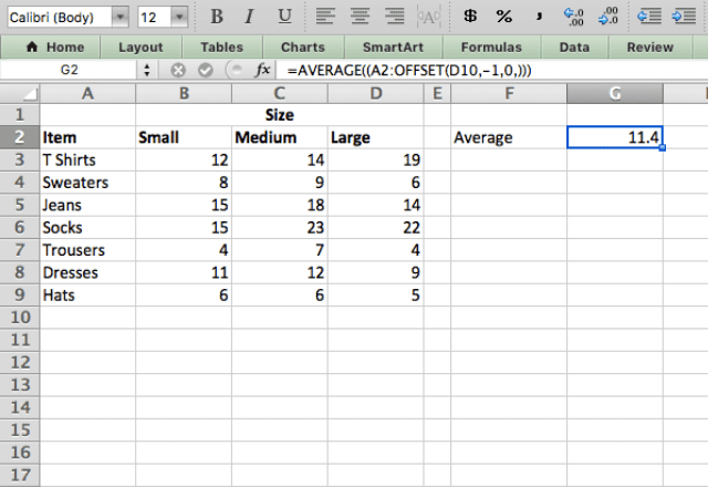 Excel OFFSET function dynamic range 4