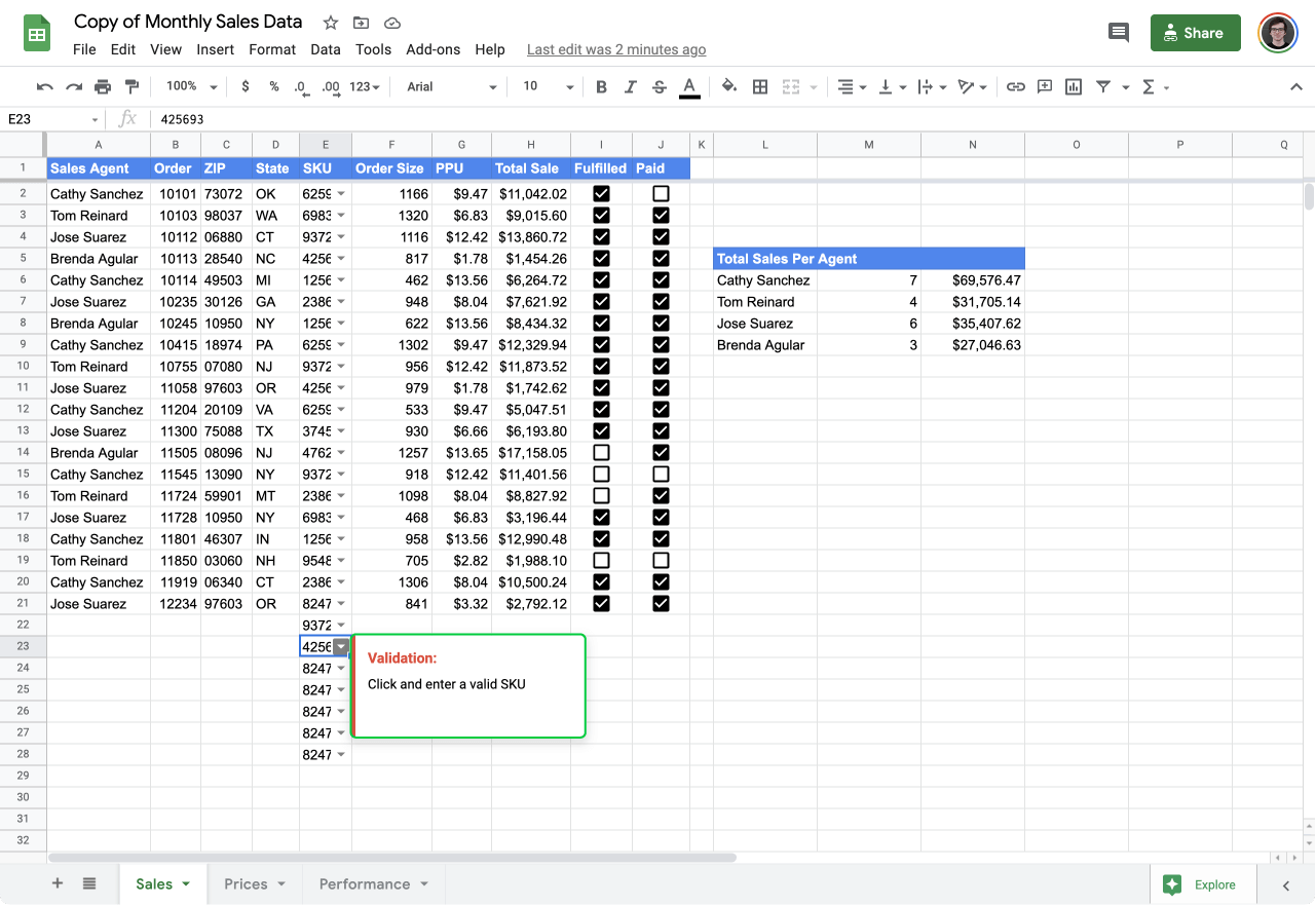 validate input values in Google Sheets 5