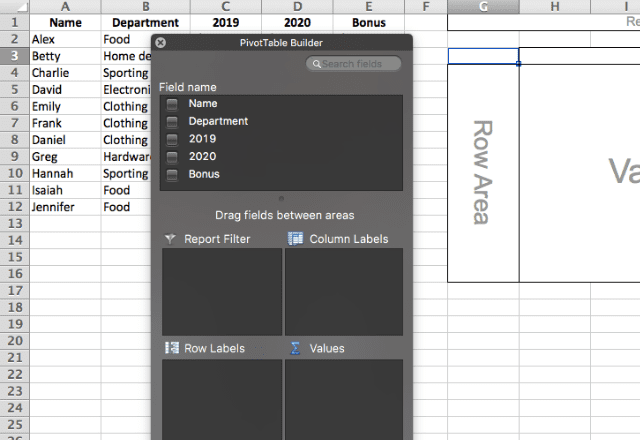pivot table in excel 5. empty builder