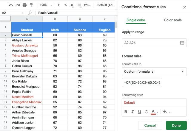 Conditional formatting based on another cell 6