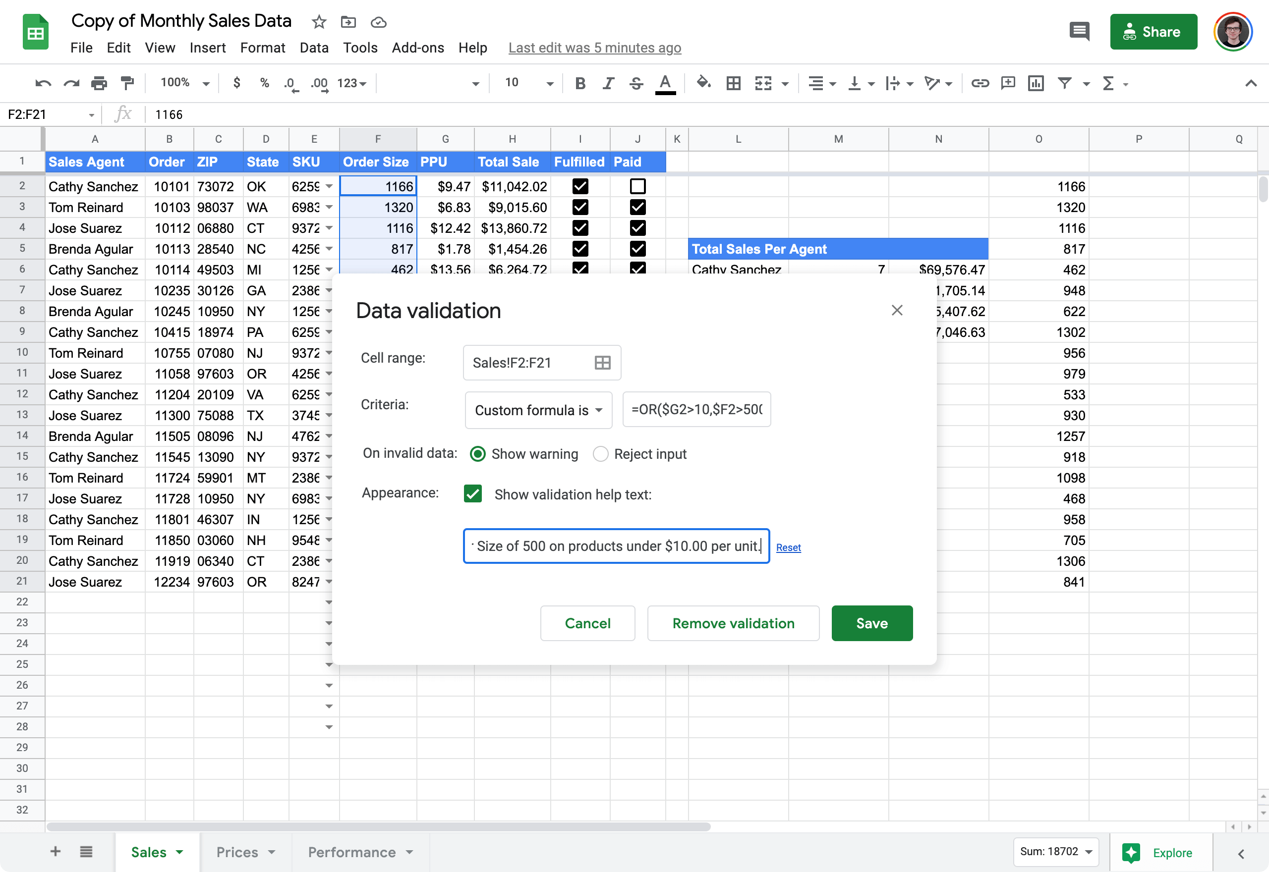 validate input values in Google Sheets 6