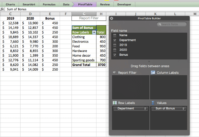 pivot table in excel 6.