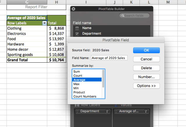 pivot table in excel 7.
