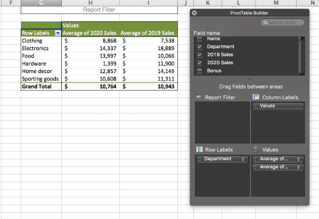 pivot table in excel 9. two-dimensional