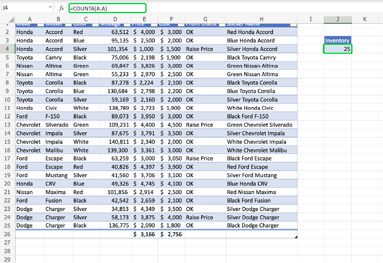 top Excel functions 5. COUNTA