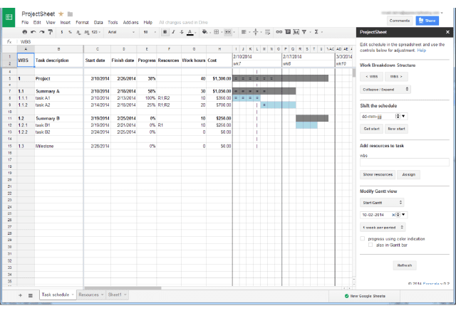 workflows 2. Project Sheet