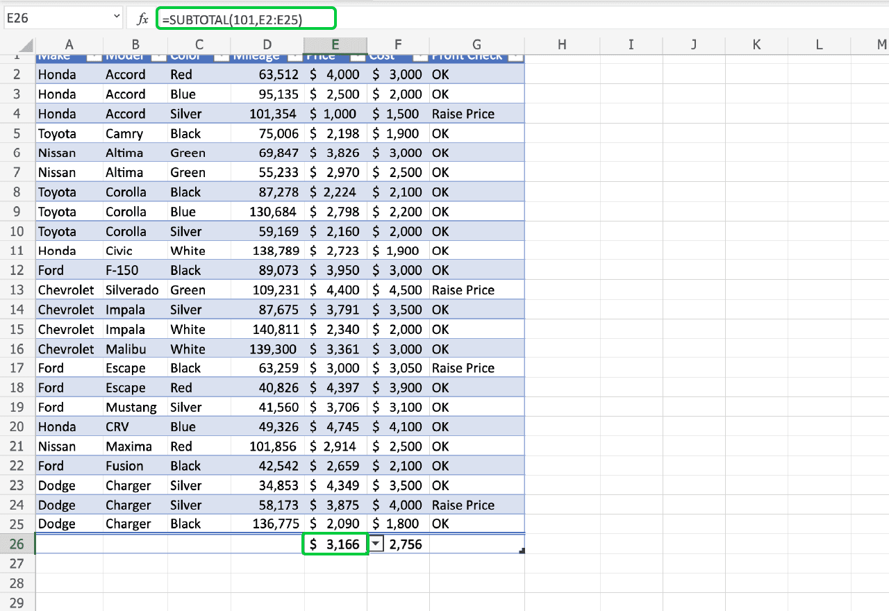 top Excel functions 3. SUBTOTAL