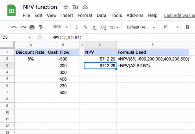 npv formula google sheets