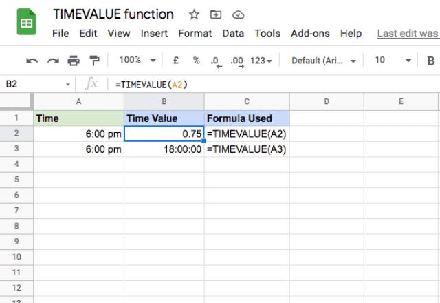 google sheets timevalue 1